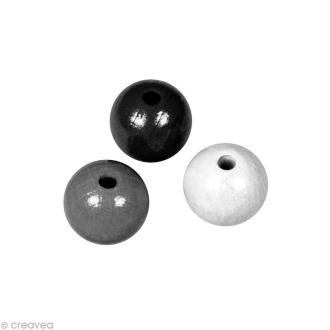Perle en bois couleur 6 mm - Assortiment Noir et blanc x 115