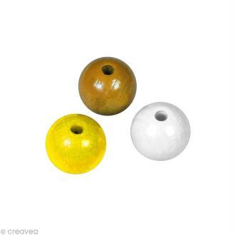 Perle en bois couleur 6 mm - Assortiment Jaune x 115