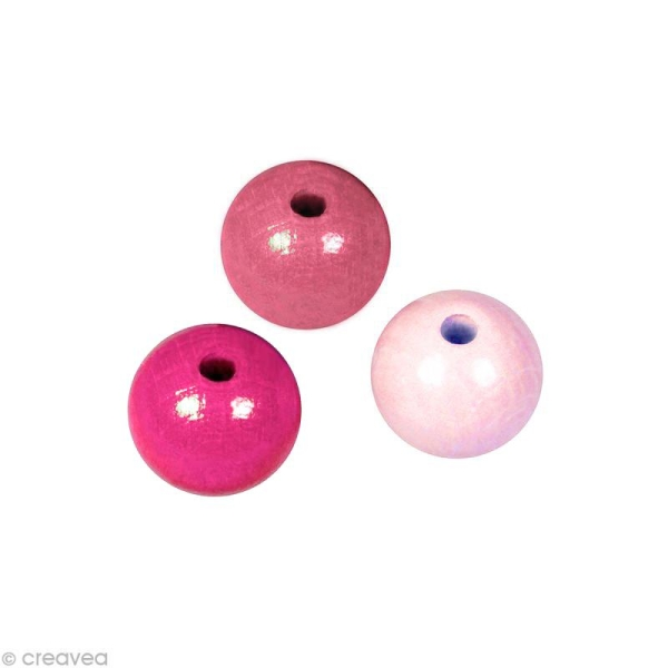 Perle en bois couleur 6 mm - Assortiment Rose x 115 - Photo n°1