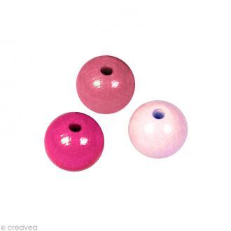 Perle en bois couleur 6 mm - Assortiment Rose x 115