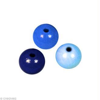 Perle en bois couleur 6 mm - Assortiment Bleu x 115