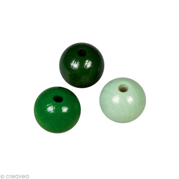 Perle en bois couleur 6 mm - Assortiment Vert x 115 - Photo n°1