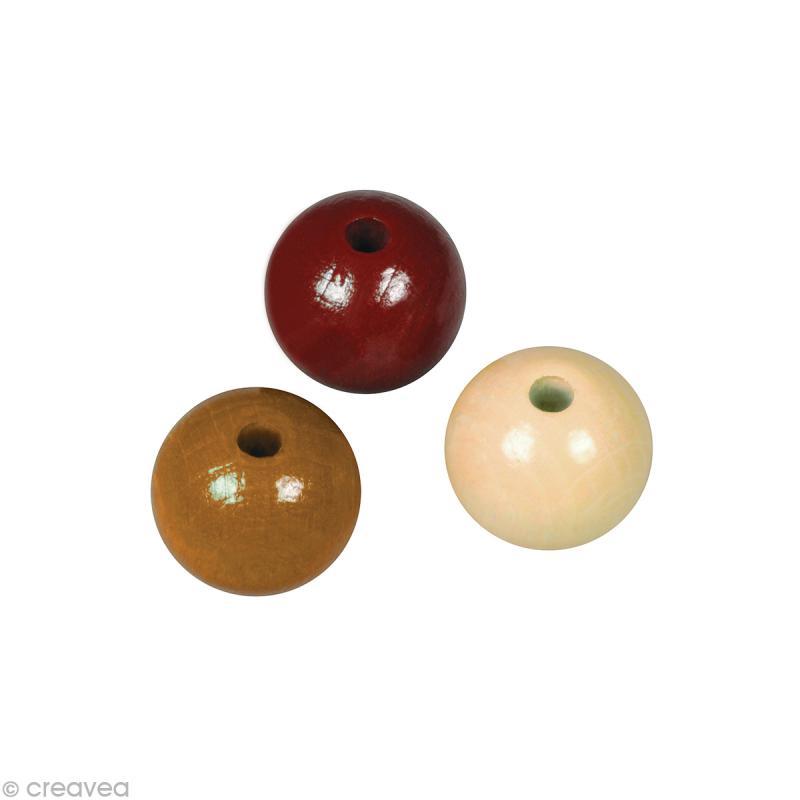 Perle en bois couleur 6 mm - Assortiment Brun x 115 - Photo n°1