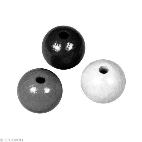 Perle en bois couleur 8 mm - Assortiment Noir et blanc x 82 - Photo n°1