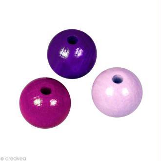 Perle en bois couleur 8 mm - Assortiment Lilas x 82