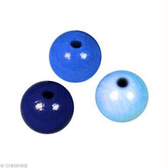 Perle en bois couleur 8 mm - Assortiment Bleu x 82