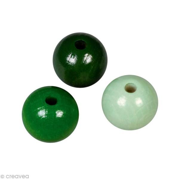 Perle en bois couleur 8 mm - Assortiment Vert x 82 - Photo n°1