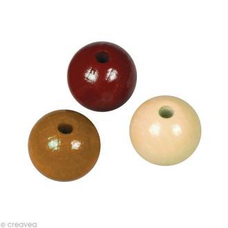 Perle en bois couleur 8 mm - Assortiment Brun x 82