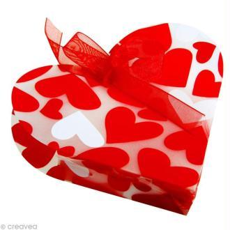 Boîte cadeau forme coeur 10 cm - Coeurs rouges x 4