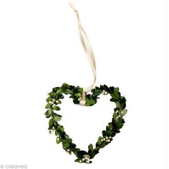 Coeur en feuillage 7,5 cm avec ruban x 4
