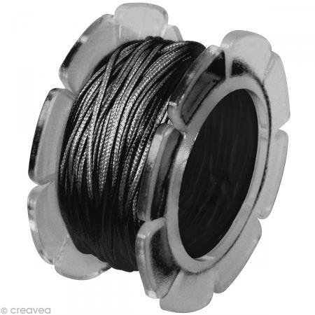 Cordon coton ciré 1 mm - Noir
