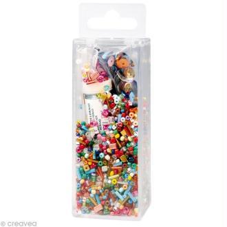 Assortiment de perles en verre et paillettes x 90 gr