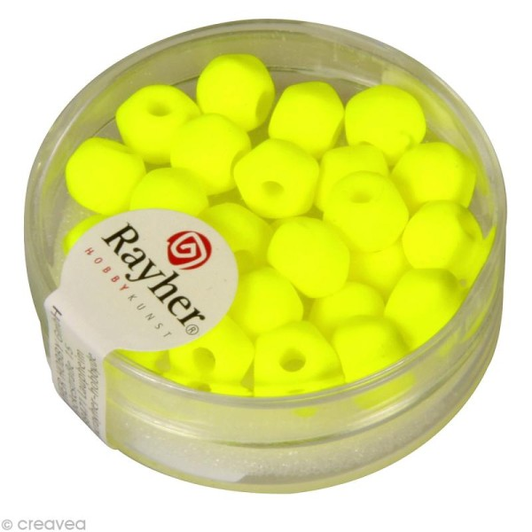 Perle 5 facettes 7 mm - Jaune fluo x 25 - Photo n°1