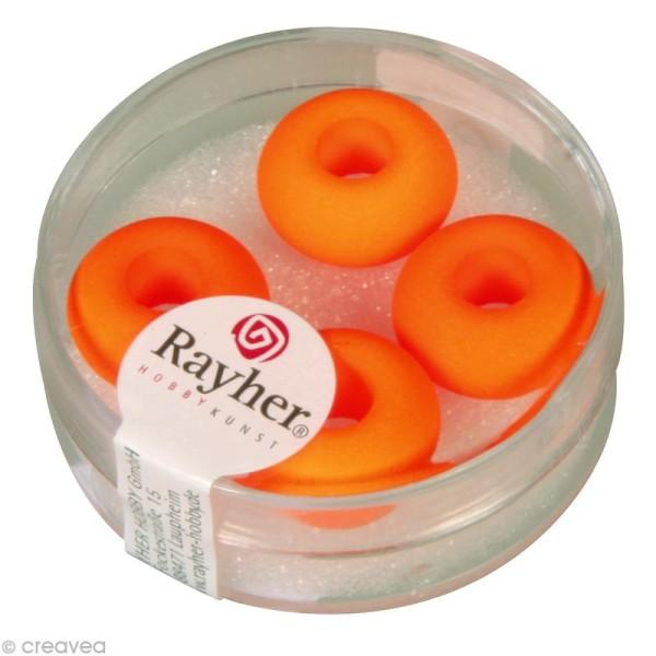 Perle en verre grand trou 14 mm - Orange fluo x 4 - Photo n°1