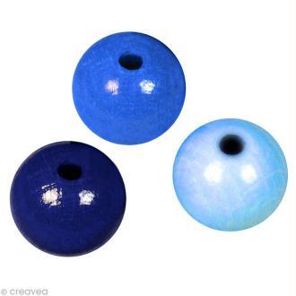 Perle en bois couleur 10 mm - Assortiment Bleu x 52