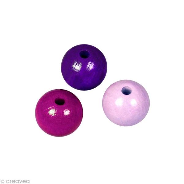 Perle en bois couleur 6 mm - Assortiment Lilas x 115 - Photo n°1