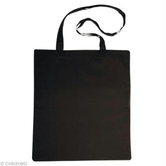 Sac en coton personnalisable Noir - anses longues