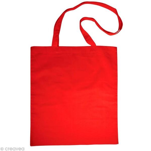 Sac en coton personnalisable Rouge - anses longues - Photo n°1