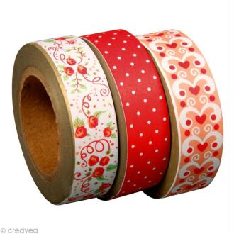 Washi tape Sugar flowers rouge 15 mm x 10 m - 3 rouleaux