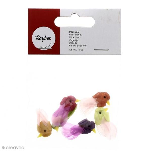 Oiseau miniature en plumes 1,5 cm x 6 - Photo n°1