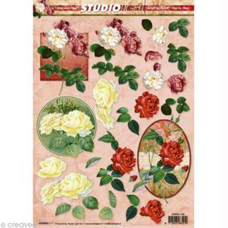 Carte 3D - Roses rouge / jaune / blanche - 21 x 29,7 cm