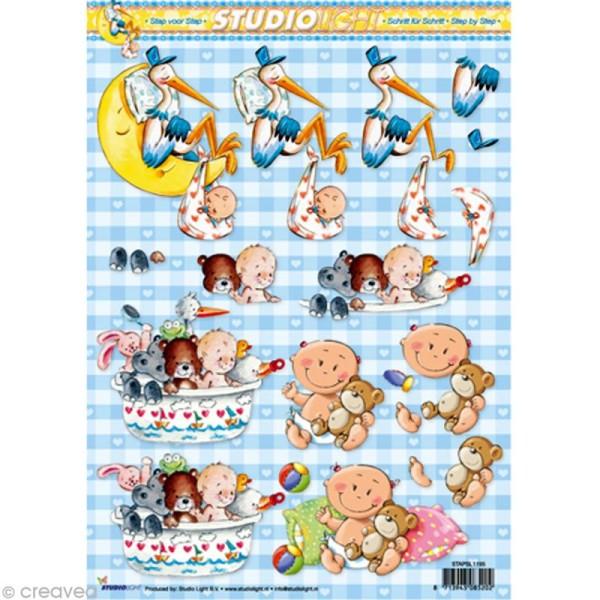 Carte 3D - Bébé et cigogne - 21 x 29,7 cm - Photo n°1