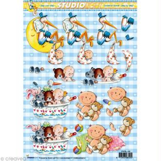 Carte 3D - Bébé et cigogne - 21 x 29,7 cm
