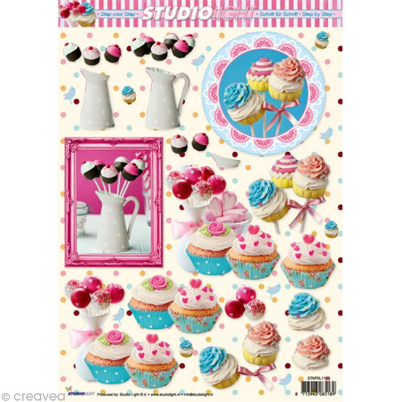 Carte 3D - Sucettes et cupcake - 21 x 29,7 cm - Photo n°1