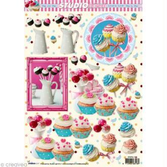 Carte 3D - Sucettes et cupcake - 21 x 29,7 cm