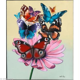Image 3D Nature - Papillons et marguerite 24 x 30 cm