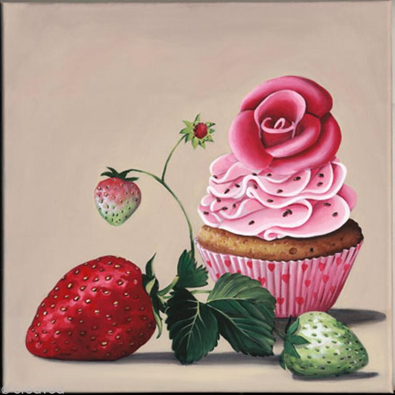 Image 3D scrap - Cupcake et fraises 30 x 30 cm - Photo n°1