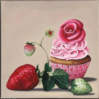Image 3D scrap - Cupcake et fraises 30 x 30 cm