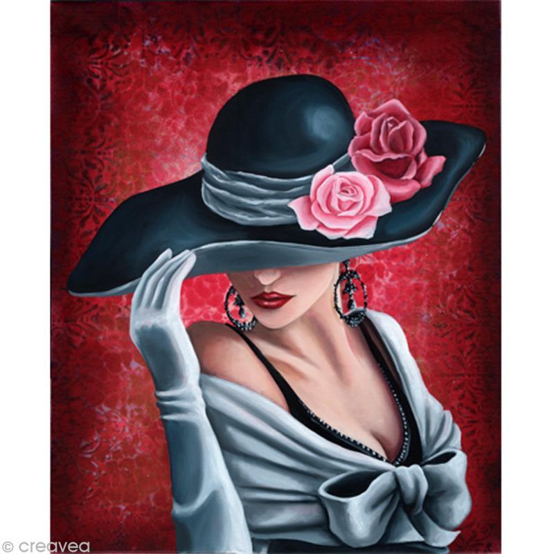Image 3D Femme - Femme au chapeau sur fond rose 30 x 40 cm - Photo n°1