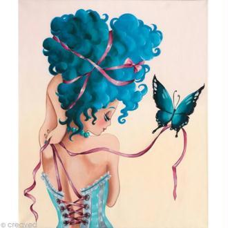 Image 3D Femme - Femme au corset bleu 30 x 40 cm