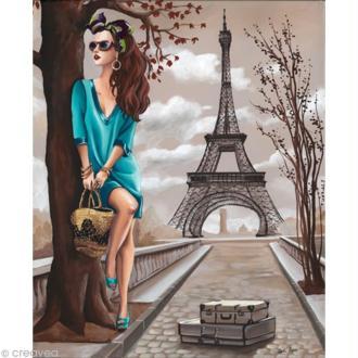 Image 3D Femme - Femme tunique turquoise et Tour Eiffel 40 x 50 cm