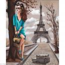 Image 3D Femme - Femme tunique turquoise et Tour Eiffel 40 x 50 cm - Photo n°1