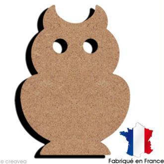 Chouette en bois à décorer - 10,5 x 7,5 cm