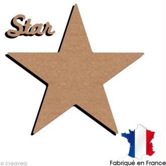 Etoile + mot star en bois à décorer - 35 x 35 cm