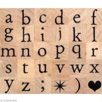 Tampon alphabet Artemio antique minuscule 1 cm