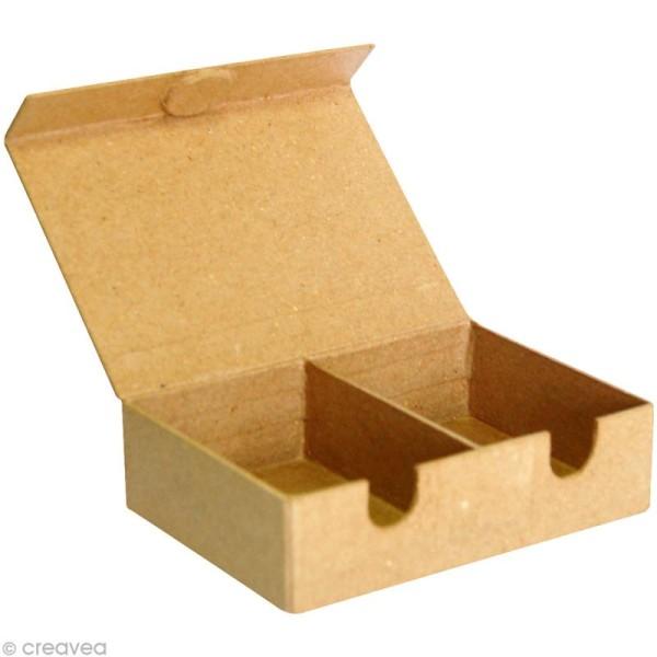 Boite à deux compartiments 14 cm en papier mâché - Photo n°2