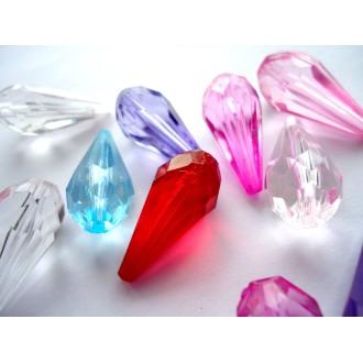 LOT de 20 Perles Gouttes 24 MM Multicolores à facettes