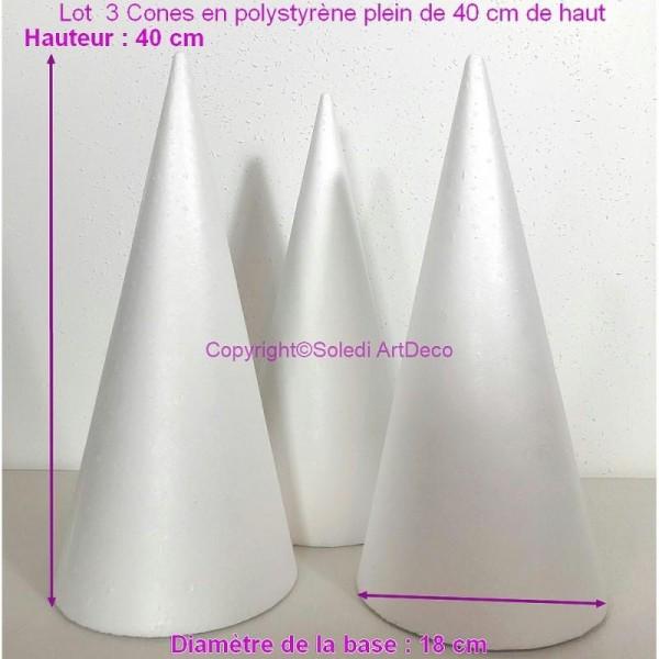 Lot  3 Cones en polystyrène plein de 40 cm de haut, Présentoirs à macarons, Diamètre de base 18 cm, - Photo n°1