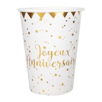 20 Gobelets Joyeux Anniversaire blanc et or