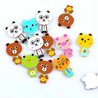 8 Boutons animaux en bois peint 3 cm - 2 trous