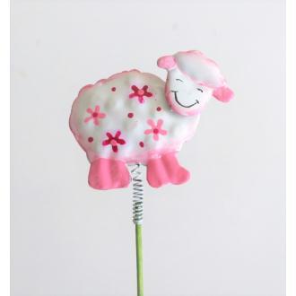 Pique de décoration Mouton métal rose H5xL5.5cm ressort sur pic H20cm