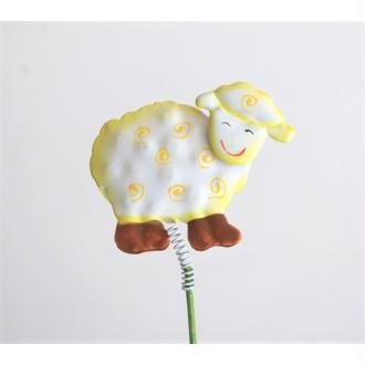 Pique de décoration Mouton métal jaune H5xL5.5cm ressort sur pic H20cm