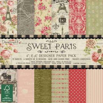 Papier scrapbooking Sweet Paris Dovecraft - set de 72 feuilles 15 x 15 cm