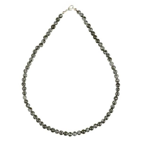 Collier en obsidienne neige - Perles rondes. - Photo n°2