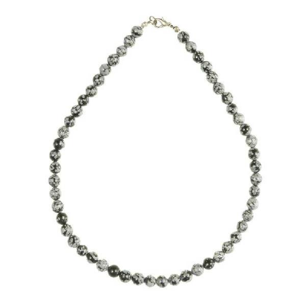 Collier en obsidienne neige - Perles rondes. - Photo n°3