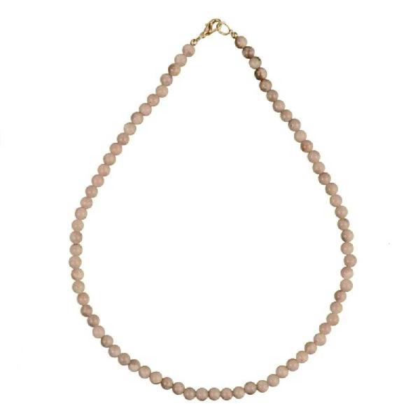 Collier en pierre de lune rosée - Perles rondes. - Photo n°2
